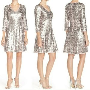 ELIZA J.•Pale pink & silver sequin party!💎NWT•10